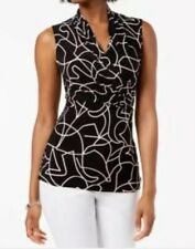 Ladies DKNY Black & White Top Size 8 Ruched Short Sleeves BNWT
