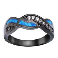 Vintage Wavy Blue Fire Opal CZ Cross Band Black Gold Filled Wedding Ring Sz 5-10