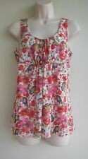 ANN TAYLOR LOFT Top Blouse Size Small Floral Red Pink Green White