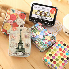 Mini Tin Metal Container Small Rectangle Lovely Pattern Storage Box Case WE9