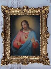 Gemälde Jesus Christus Bild mit Barockrahmen Wandbild ReproAntik look 56x46 cm