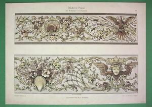 FLORAL FRIEZE Bird Grotesque Shell - 1891 COLOR Litho Print Dekorative Vorbilder