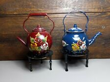 More details for pair of canal wear brass painted teapots with stands red and blue with flowers