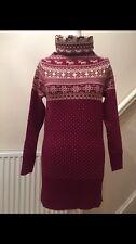 WOMENS LADIES BURGUNDY CHRISTMAS REINDEER JUMPER MINI DRESS SIZE S/M