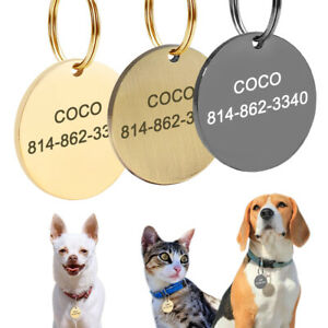 Dog Tags ENGRAVED for Dogs Cats Personalized Pet ID Tag Customizable Round Gold