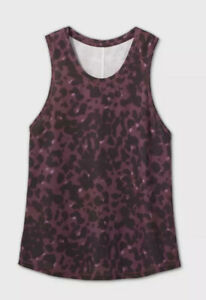 Women's Leopard Print Active Tank Top - All in Motion Berry Size XL