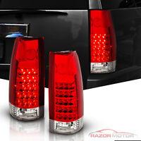 1988-1999 Red Clear LED Tail Light Set Chevy/GMC C10 C/K Silverado Tahoe Sierra
