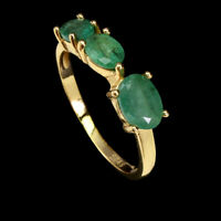 Unheated Oval Green Emerald 7x5mm Natural Gold Plate 925 Sterling Silver Ring