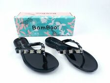 Bamboo Silver Studded Clear Jelly Girls Youth Sandals Size 4 Flip Flops