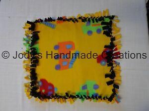 HANDMADE BABY / PET MINI FLEECE TIED SECURITY BLANKET - TOYS / BLACK  15 X 15