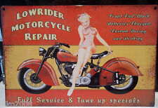 """LOWRIDER MOTORCYCLE REPAIR/ PIN-UP/ INDIAN 12""""X 8"""" METAL SIGN 30X20cm, BIKER"""