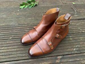 Edward Green Chestnut Triple Monk Boots size Uk 7.5 E 888 last Very Rare