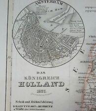 Alt- u. Grenzkolorierte Stahlstichkarte des Königreichs Holland, Renner 1837