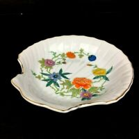 "Vintage Shell Trinket  Dish Made in Japan Gold Trim Floral Design 7 1/2"" W"
