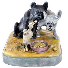 Wiener Bronze - Bull Dogs - Bulldoggen mit Ente - Hunde - Tierfigur - Tintenfass