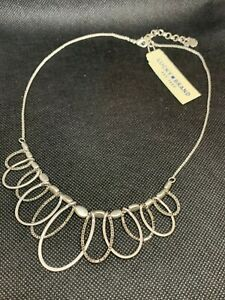 LUCKY BRAND Silver-Tone Pave' Layered Loops Beaded Collar Necklace NWT $49 W@W