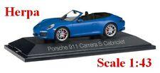 Porsche 911 Carrera S Cabriolet 991 II bleu métallisé - HERPA -  Echelle 1/43