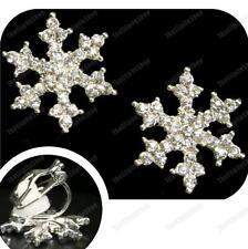 A Clip Strass in Cristallo Snowflake Orecchini Silver Plated Luccicante Clip comode