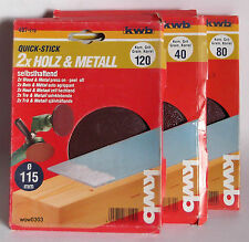 6 Discos De Lijado Para Madera & Metal Autoadhesivo 40,80 & 120er de Kwb