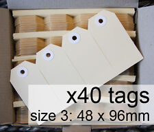x40 SHIPPING TAGS - size 3 plain manilla BUFF Avery swing tags labels 48 x 96mm