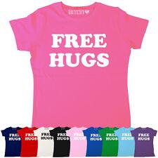 FREE HUGS RETRO CLASSIC SLOGAN WOMENS PRINTED T-SHIRT ALL COLOURS & SIZES