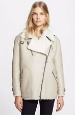 NWT BURBERRY $2995 WOMENS GENUINE SHEARLING LEATHER MOTO JACKET COAT US 4 EU 38