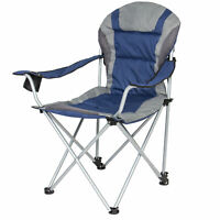 BCP Padded Reclining Camping Chair With Portable Carrying Case - Blue/Silver