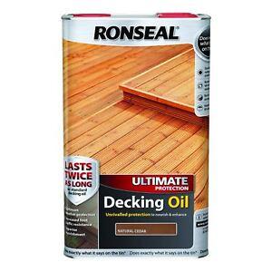 Ronseal Ultimate Protection Decking Oil Sun Rain Protector Natural Cedar 5L