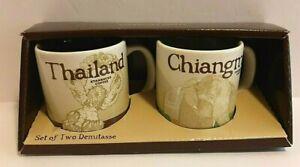 Starbucks Set Of Two Demitasse Mugs Thailand & Chaingmai 3 Oz Cups NEW in Box