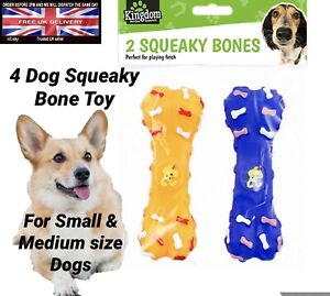 4x Fancy Squeaky Bone Dog Toy Fetch Puppy Pet Chew Fun Sound Medium & Small Dogs