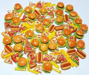 100 Dollhouse Miniature Mixed Fast Food*Doll Mini Pizza Burger Fries Hot Dog b11
