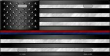 American Flag Thin Red Blue Line Police Firefighter License Plate Tag