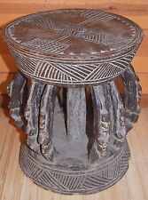 Antique African Dogon Tribe Wood Stool Carved W Six Sets Of Twins Mali, Africa