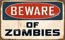 Sticker vinyl vintage  Beware of Zombies funny door Sign Decal Graphic Label
