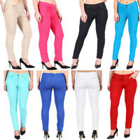 Womens Jeggings Ladies Fit Skinny Coloured Stretchy Trousers Jeans Sizes UK 8-22