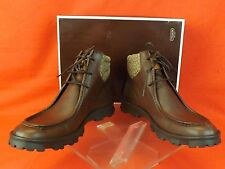 NIB COACH BROWN ABEL CALF LEATHER SIGNATURE CANVAS CUFF LACE UP BOOTS 9 ITALY