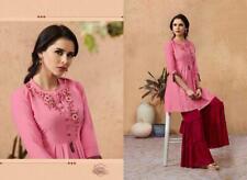 Women Indian Light Pink Embroidered Rayon Kurti Top Shirt with Maroon Sharara