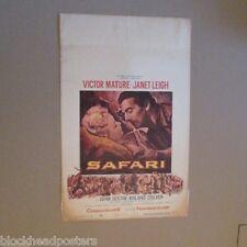 SAFARI~MOVIE POSTER WINDOW CARD~ORIGINAL~1956~VICTOR MATURE~JANET LEIGH