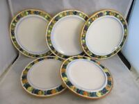 5 Vintage Italian pottery molded fruit design plates