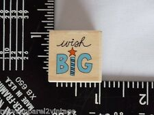 Wish Big Wood Mounted Rubber Stamp Gently Used 2010 Hot Fudge Studio Hampton Art