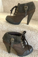Limelight Ankle Boots Uk 5 Women's Brown Faux Leather Knitted Cuff Block Heel