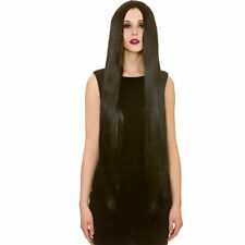 """Long 39"""" Black Morticia Straight Gothic Wig Ladies Witch Halloween Fancy Dress"""