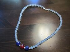VTG Grey Agate Amethyst Ruby Faceted Beads 925 Sterling Signed Clasp Necklace