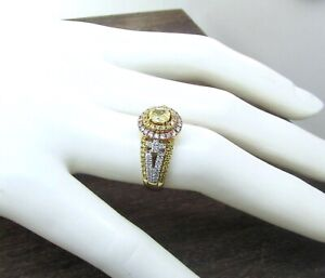 CANARY STAR By JB Star 18K 2 Tone Natural Yellow, Pink & White Diamond Halo Ring