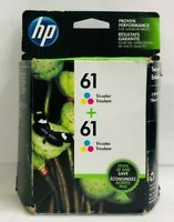 New Genuine HP 61 Color 2PK Ink Cartridges NB Deskjet 3054 3511 2547 Envy 5539