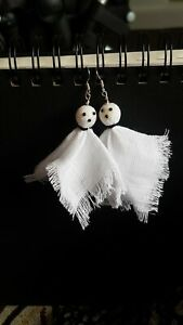 Spooky Ghosts Hand Made Halloween Fabric Costume Alt Gothic Dangle Earrings New