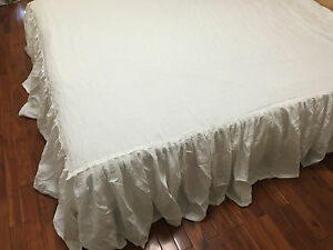 Shabby Pre washed 100% Linen supper soft Bedding bed skirt Dust ruffle gathered