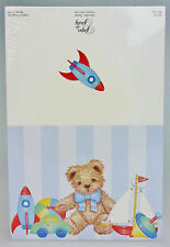 Paper so Pretty Blank Fill In/Fold Note Card Party Invitations Teddy Bear Rocket