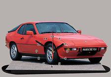 MODEL CARS, PORSCHE 924-06, car passenger,11,8x 7,8 inches  with Clock
