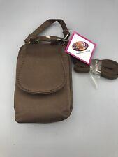 Charm 14 .Com Sz Very Small Nylon Phone Bag Brown Handbag 5x3.5